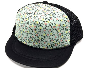 Black with Mint Floral Trucker Hat