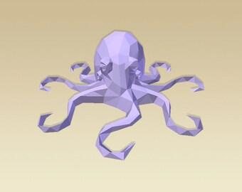 DIY 3D Papercraft Octopus - PDF, Printable Model, Template