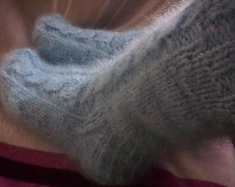 Light blue hand knit socks,Sheep wool, mohair wool socks,thick bed socks, UK 4,USA 5.Kozizake.