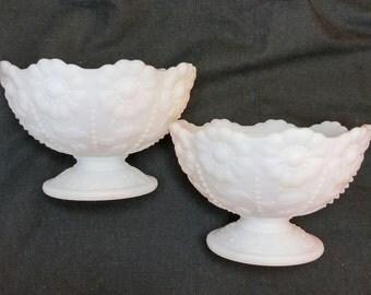 Milk glass pedestal bowls, sunflowe pattern