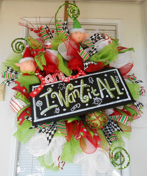 xxl curly deco mesh christmas elf wreath by. Black Bedroom Furniture Sets. Home Design Ideas