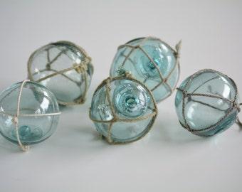 Five Vintage Japanese Glass Fishing Floats - Kanji Marks