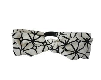 Headband Lea - Geometric Print Cotton Headband, Black and white Headband, Modern Headband, French Headband, Hip Headband, Handmade in Paris