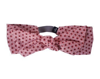 Headband Sandy - Red Japanese style Headband in Geometric printed Cotton, Retro Headband, Cute Headband, Everyday Headband, Kids Headband