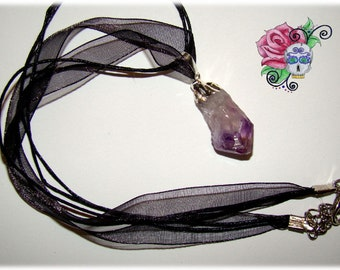 Natural Amethyst Pendant Necklace, Natural Pendant, 34mm, organza necklace, Gift, Handmade