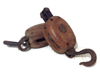Pair Of Two (2) Antique Pulleys / Block And Tackle