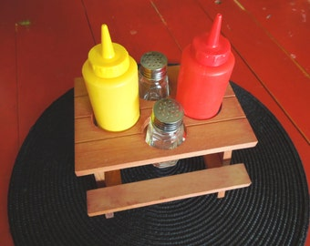 Kitsch Condiment holder Salt Pepper mustard ketchup bottles vintage - wood  picnic table organizer stand Deck Patio Backyard dining