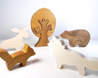 Wooden toys forest animals // baby gift // baby toys // eco friendly Toys for baby // Bear, Fox, Moose, wolf // Wood toys // Montessori toys
