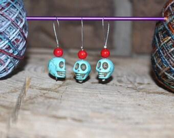 Three (3) Skull Stitch Markers