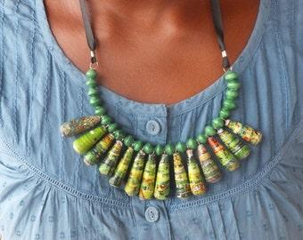 Multi Coloured Jinja Drop Necklace