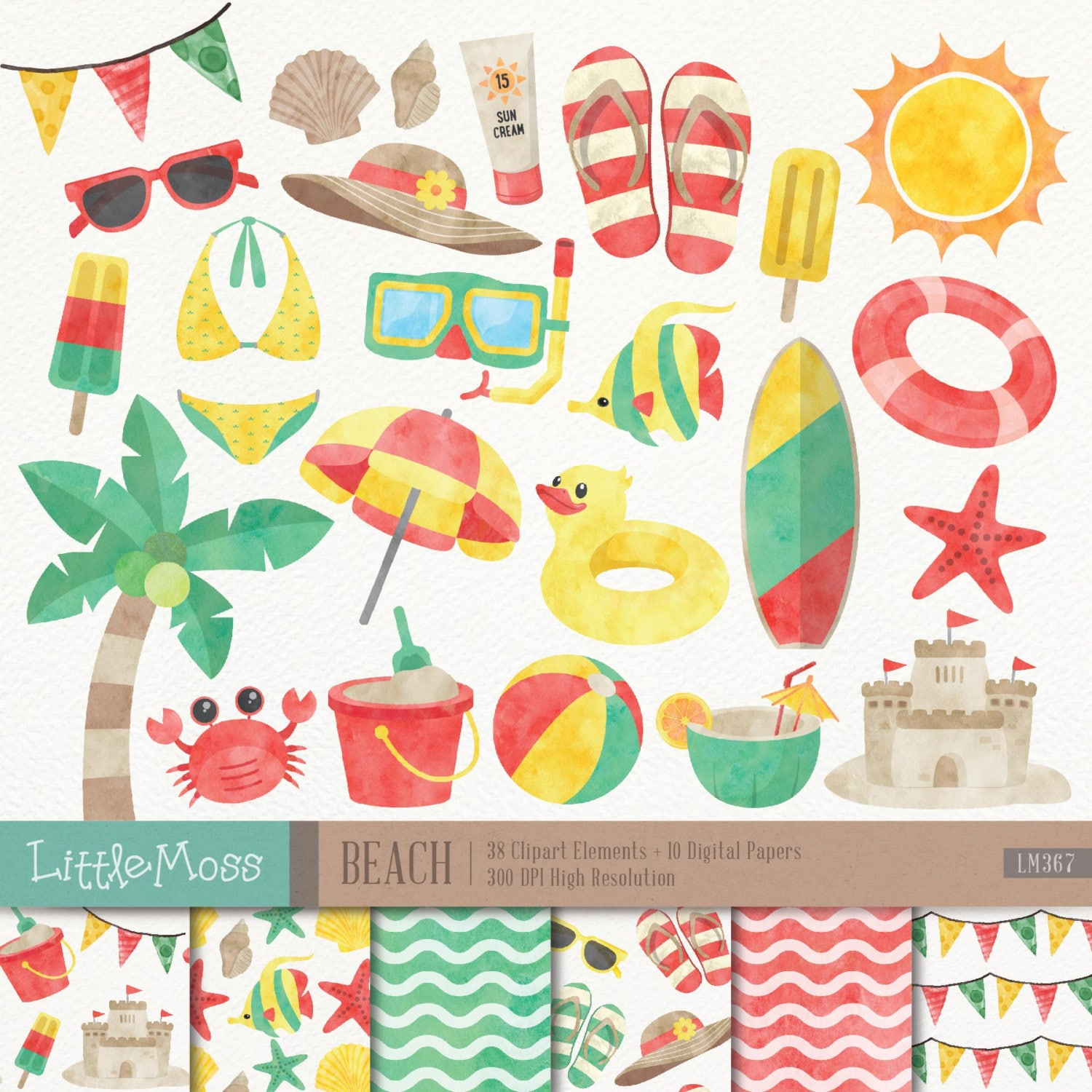 beach digital clipart and papers watercolor beach clipart