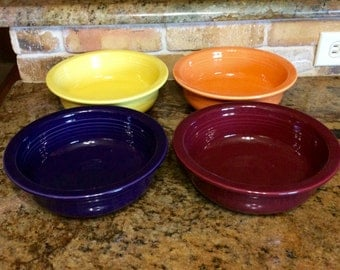 """Fiesta Ware 8.5"""" """"Nappy"""" Open Serving Bowls, in Cinnabar or Plum (1 of each color available)"""