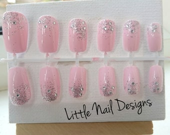 Pink glitter false hand painted bridal nails Gifts for her