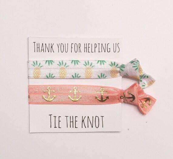 Bridesmaid hair tie favor//pineapple peach anchor, party favor,hair tie card, bridesmaid gift, bachelorette party, wedding, bride