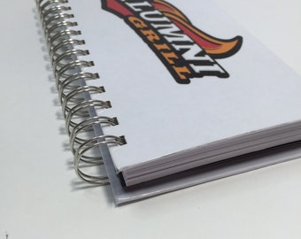 Custom waitress book, laminated server wallet, spiral notebook, narrow journal, order taker notebook with two pockets.