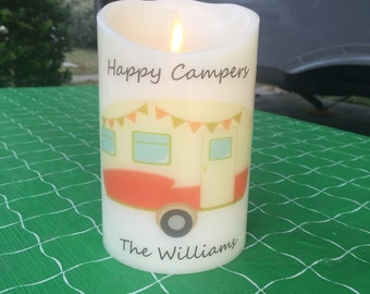 RV Decor - Flameless Candle - RV Gifts - LED Candle - Camper Gifts - Happy Camper - Camper Decor - Travel Trailer Decor - Timer Candle