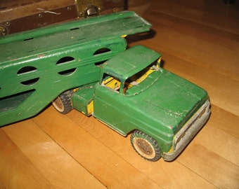 Vintage 1950's Tonka car carrier trailer semi Tonka truck