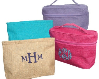 Monogrammed jute cosmetic bag clutch