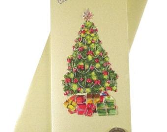 Christmas Tree Card, Christmas Card, Tree Card, Decoupage Card, Metallic Christmas Card