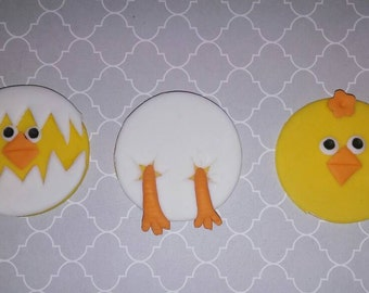 Chick fondant toppers, Easter fondant toppers
