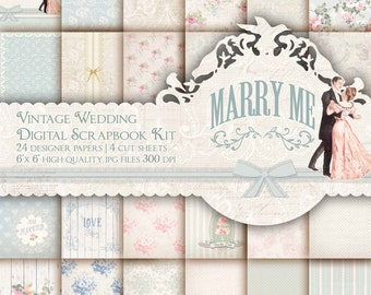 wedding scrapbook paper kit wedding digital paper pack shabby paper printable backgrounds romantic vintage wedding