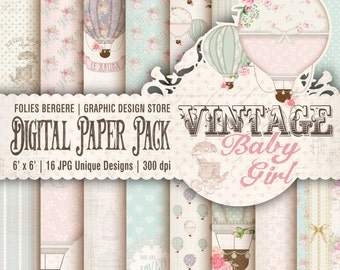 Baby Girl Digital Paper Pack, Vintage Baby Papers Shabby Baby Printable Backgrounds Cute Baby Air Balloons Shabby Chic Roses Twinkle Star