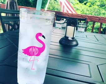 Monogrammed flamingo decal // summer decal
