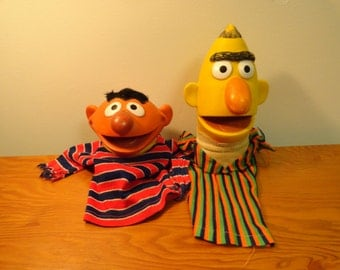 Vintage Bert and Ernie Hand Puppets