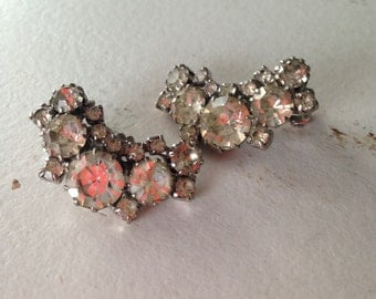 Vintage Clear Rhinestone Crescent Clip Earrings 0401