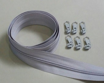 3 Yards  Zipper # 5 with Free 6 Pulls, Light Gray Zipper by the Yard, Zipper # 5, Zipper by the Yard.