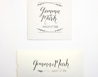 Personalised wedding card & money wallet, hand drawn, typography, wedding gift