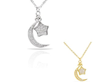 HaLf Moon Necklace, Star Necklace, Half moon Star Necklace