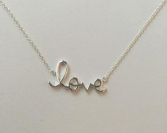 Love script pendent necklace,love necklace,925 sterling silver love script pendant necklace