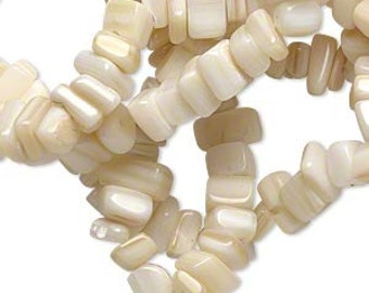 "Mother of Pearl Beads, Beige Beads, 6mm to 8mm Chips, 36"" strand, D895"