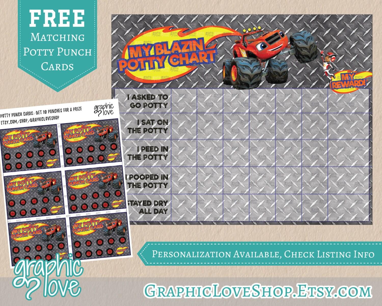 potty punch card printable blaze monster machines potty training chart punch cards nick junior truck aj digital jpg files instant