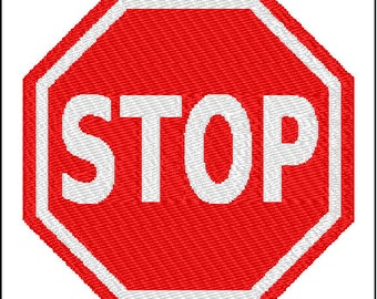 Stop Sign Embroidery Pattern Design