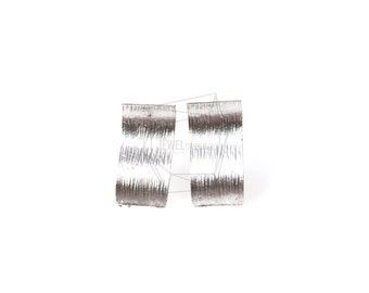 ERG-197-MR/2PCS/Wave Square Ear Post/8mm x 16mm/Matte Rhodium Plated Over Brass/925 Sterling Silver Post