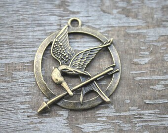 7pcs--arrow bird Charms, Antique bronze tone arrow bird charm pendants 35mm D1178