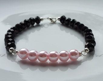 Bracelet Pink Glass Pearl And Black Faceted Bead Bracelet