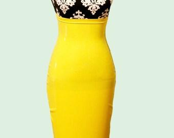 Latex high waist pencil skirt w/frills