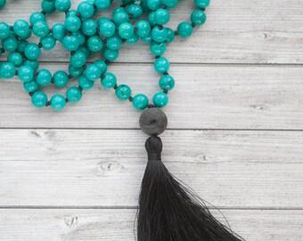 Turquoise mala tassel necklace / Long Hand knotted tassel necklace / Long Turquoise tassel necklace / 108 beads
