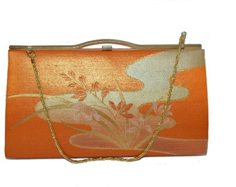 Japanese Vintage Kimono Purse Clutch Bag Orange Gold