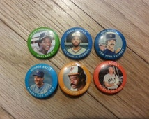 1984 Fun Foods Baseball Pins - Henderson, Guidry, Brett, Murray, Boggs, Cooper