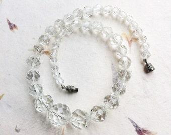 Vintage glass necklace, vintage crystal necklace, vintage wedding, cut glass choker, clear glass necklace, bridal necklace, cut crystal