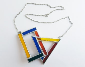Stained glass pendant-Mondrian-triangle-blue-red-yellow-black-modern-hipster-geometrical