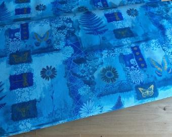 Blue fern fabric by the yard, fat quarter, butterfly fabric, fern leaf fabric, blue blender fabric, cotton quilt fabric yardage