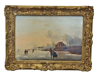 19th C. Dutch Painting Winter Skaters On A Lake Oil On Panel