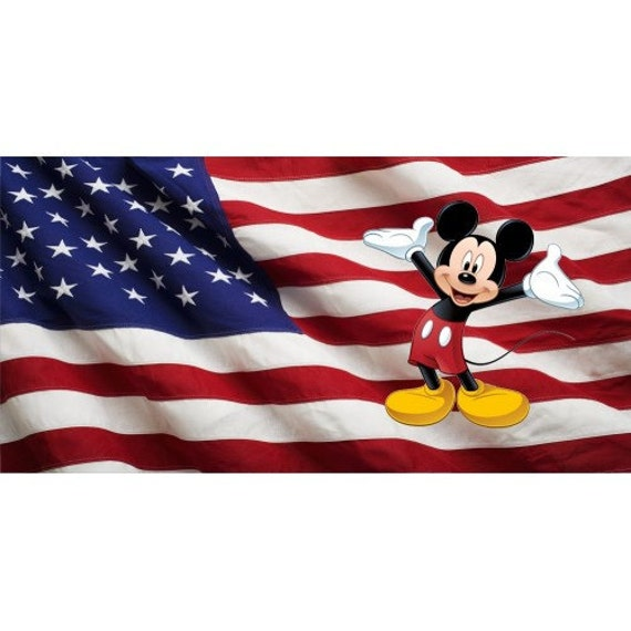 American Flag Mickey Mouse Photo License Plate Lpo2256