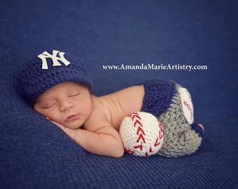 Baseball outfit Baby Baseball  Cap ,Diaper cover or pants,,, crochet baby shower gift, Newborn Baby PHOTO PROP