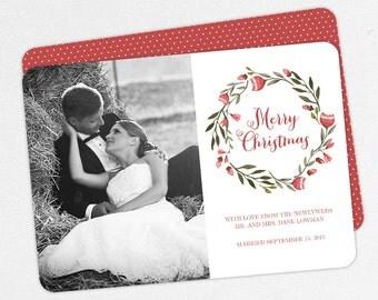 24 HOUR TURNAROUND, Newlywed Holiday Card, Christmas Card, Wreath Holiday Card, Watercolor Newlywed, Leaf, Red, Green, DIY, Printable, pdf